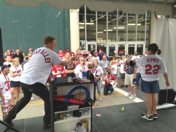 throwing cards at Rally Alley for the Cleveland Indians
